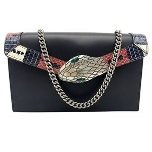 Gucci Chain Wallet Linea Snake Flap Black Leather